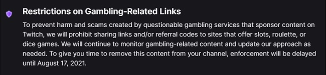 twitch gambling restriction